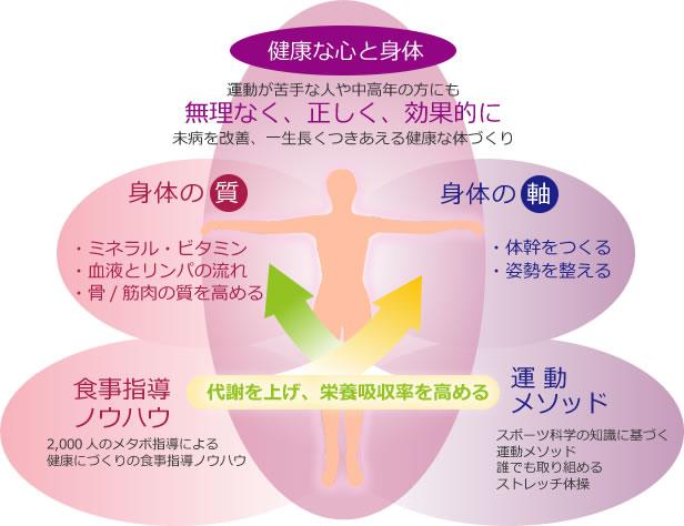 食事指導のノウハウと運動メソッド。2,000人のメタボ指導による 健康にづくりの食事指導ノウハウ。スポーツ科学の知識に基づく 運動メソッド 誰でも取り組める ストレッチ体操。代謝を上げ、栄養吸収率を高める。身体の質。・ミネラル・ビタミン、血液とリンパの流れ、骨/筋肉の質を高める。身体の軸。体幹を鍛える。姿勢を整える。健康な心と身体。運動が苦手な人や中高年の方にも 無理なく、正しく、効果的に 未病を改善、一生長くつきあえる健康な体づくり。